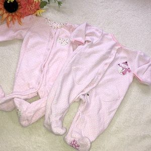 CARTERS pink fleece footed button snap baby girl